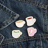 ZSCZQ Simpatico Cartone Animato Smalto Spille Spille caffè tè Tazza di Gatto Vestiti Spille Cappotto Borsa Distintivo Pulsante Denim Spilla Corpetto Regali per Amico Tazza da tè