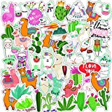 PMSMT 50PCS Cactus Llama Alpaca Wasserdichter Aufkleber Kawaii Cartoon Camel Sheep Tieraufkleber für Kinder Scrapbooking Bike Car Decals
