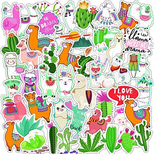 PMSMT 10/30/50 Uds Cactus Llama Alpaca Pegatina Impermeable Kawaii Dibujos Animados Camello ovejas Animales Pegatinas para niños Scrapbooking calcomanías de Coche