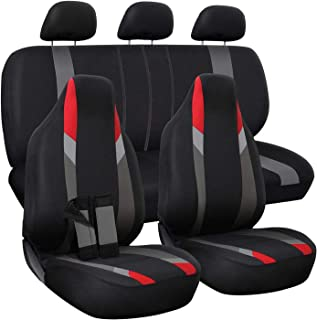 OxGord Car Seat Cover - Poly Cloth Black, Red and Gray with Low Bucket and 50-50 or 60-40 Rear Split Bench - Universal Fit...