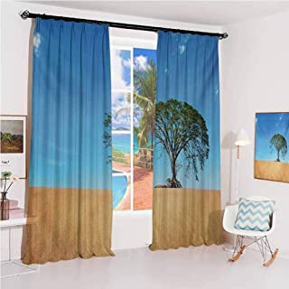 Tree Hook up Curtain Sandy Desert Picture with Big Tree Clear Sky Summertime Hot Weather Nature Art for Bedroom Kindergarten Living Room W72 x L72 Inch Beige Blue Green