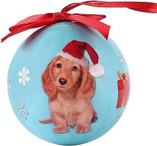 Cue Cue Pet Festive Ready to Hang Christmas Keepsake Miniature Blonde Dachshund Ornament Shatterproof Ball