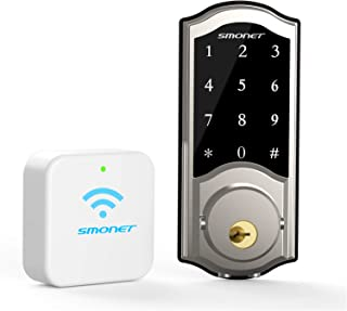 Smart Deadbolt,SMONET WiFi Electronic Digital Bluetooth Lock,Keyless Entry Door Lock with Keypads,Gateway Hub Included, Ea...