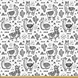 ABAKUHAUS Lama Stoff als Meterware, Doodle Alpaka Design,