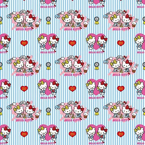 Hans-Textil-Shop Stoff Meterware Hello Kitty Baumwolle - Deko, Kleidung, Kinderzimmer, Mädchen, Kinder, Kinderstoff - 1 Meter