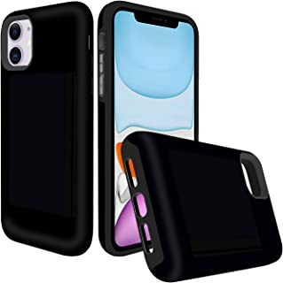 Destone Designed for iPhone 11 Case with Card Holder, [3 Credit Card Capacity] Heavy Duty Shockproof Rugged Armor TPU and Plastic Hybrid Back Cover Wallet Case for iPhone 11 (Black)
