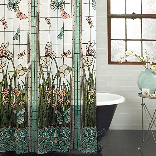 Unbranded PEVA Stained Glass Meadow Shower Curtain Bath...