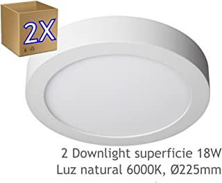 JANDEI - 2x Downlight LED 18W Redondo De Superficie Luz