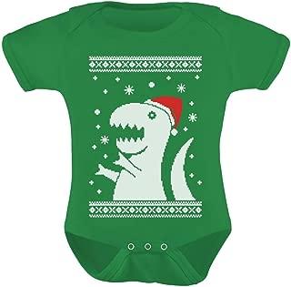 Big Trex Santa Ugly Christmas Sweater Baby Grow Vest Baby Bodysuit
