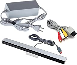 Jadebones Wii Replacement Cables Set, Wii AC Power Adapter Block, Component AV Cable, and Wired Motion Sensor Bar for Nintendo Wii