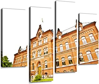 A Traditional European Building in Sundsvall, Sweden 4 Pieces Wall Art Print on Canvas Modern Photography Painting for Living Room Bedroom Wall Decor Gift Frame Ready to Hang