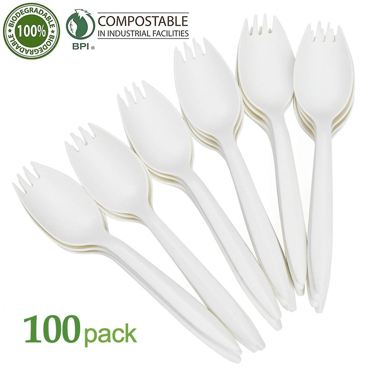 100 PCS Plastic Spork Plastic Forks and Spoons Disposable 2 in 1 Sporks Plastic Disposable Sporks for Camping Picnics Parties and Weddings White