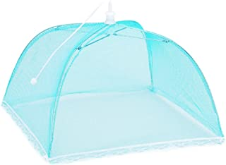 Ninasill Food Protection Cover Large Pop up Umbrella Tent Dome Net Umbrella Lace Mosquito Table Dining Net Food Cover (Blue)