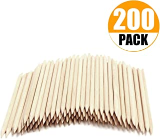 Onwon 200 Pieces Orange Wood Sticks - Double Sided Nail Art Multi-Functional Cuticle Pusher Remover, Clean Nail Polish - 110mm Pointed End & Flat End Manicure Pedicure Tool