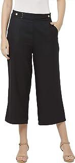 109 F Women Blended Black Solid Culotte