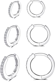 Silver Huggie Hoop Earrings for Women, 3 Pairs Tiny Hypoallergenic Sterling Silver Cartilage Hoops | 14k Gold Small Cubic ...