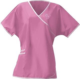 Scrub Dudz Women's Scrub Top, Houston Texans, Pink