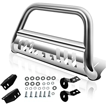 "AUTOSAVER88 Bull Bar Compatible for 2007-2021 Toyota Tundra/2007-2018 Sequoia, 3"" Stainless Steel Tubing Brush Push Bar Front Bumper Grille Guard - Chrome, Silver"