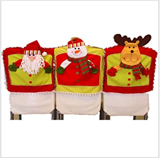 Homecube Chair Back Cover, 3D Christmas Snowman Santa Claus and Santa Deer Chair Back Covers for Dining Room Home Holiday Party, Family Composition,Set of 3