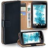 MoEx® Booklet mit Flip Funktion [360 Grad Voll-Schutz] für HTC Desire 526G | Geldfach & Kartenfach + Stand-Funktion & Magnet-Verschluss, Schwarz
