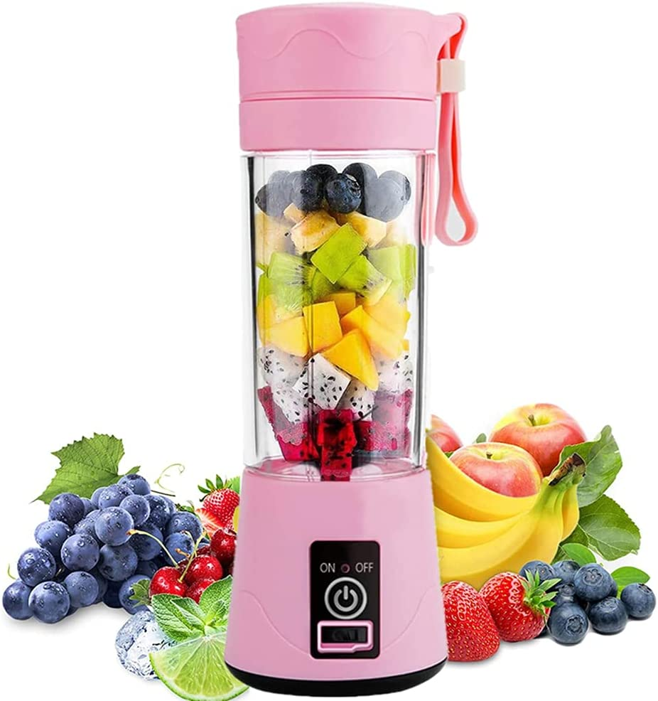 Portable Blender, Personal Blender, Small Fruit Mixer, Electric USB Rechargeable Juicer Cup with 6 Blades, Fruit Mixing Machine Home,BBQ,Travel (Pink)