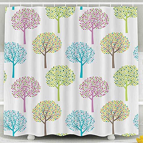 Auld-Shop Duschvorhang-Giftiger Raumteilungs-Vorhang-Zusammenfassungs-Bunter Saisonbaum-Natur-Hintergrund-Muster-Duschvorhang