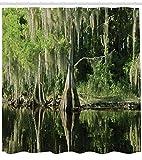 Lunarable Nationalpark Duschvorhang, Reflexion auf Wasser, Florida Sumpfpflanzen hängend, Stoffstoff, Badezimmer-Dekor-Set mit Haken, 190,5 cm lang, Grau Olivgrün