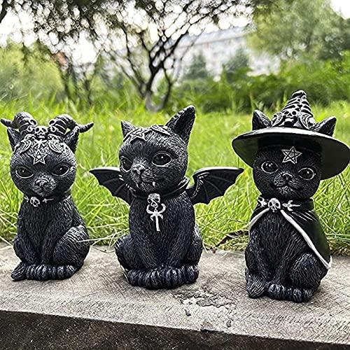 Yokbeer Gato Gnomo de Césped de Halloween, Sombrero de Brujas Figura de Gato Oculto, Arte de Gato Negro Pintado a Mano, Lindo Gnomo de Gato Negro, Escultura de Gnomo de Halloween Decoración de Escrito