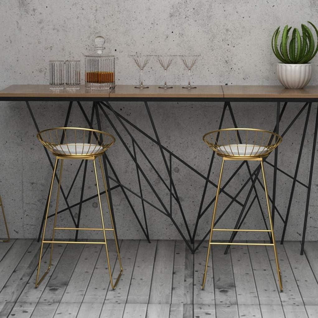 Chaise de Salle à Manger Tabouret de bar Chaise de bar en fer forgé Tabouret haut Chaise de salle à manger moderne en fil métallique Chaise de bar simple (Color : Black) White