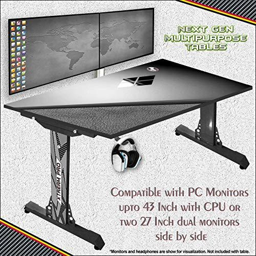 ICEBERG Belgium Xtreme Pro Gaming Laptop/Desktop Adjustable Multipurpose Computer Table Style-Grey-Leather-W9