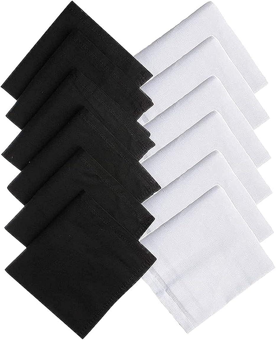 Kalagiri Cotton Premium Collection Black And White Handkerchiefs Hanky Set For Men - Pack of 12 Pcs