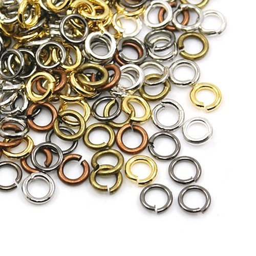 Iron Open Jump Rings Mixed-Colour Round 0.7 x 6mm Pack of 500+