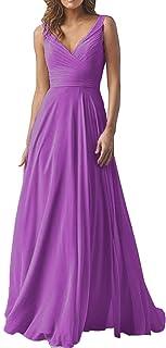 V Neck Bridesmaid Dresses Long for Women Chiffon Aline Prom Dress Evening Gown