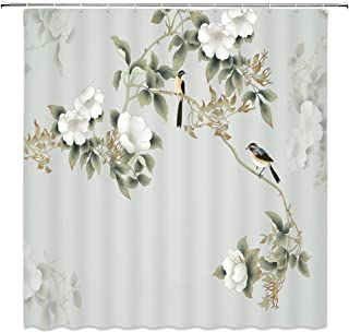 jingjiji Asian Decor Shower Curtain Magnolia Antique Birds Flower Ink Painting Landscape Chinese Art Bathroom Decoration Curtains Polyester Fabric Waterproof with Hook 70 x 70 Inch Green