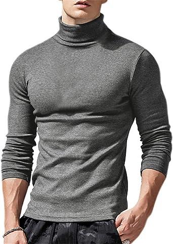 Camiseta de manga larga para hombre con cuello alto, ajustada, cuello alto, manga larga, cuello de tortuga, monocolor.
