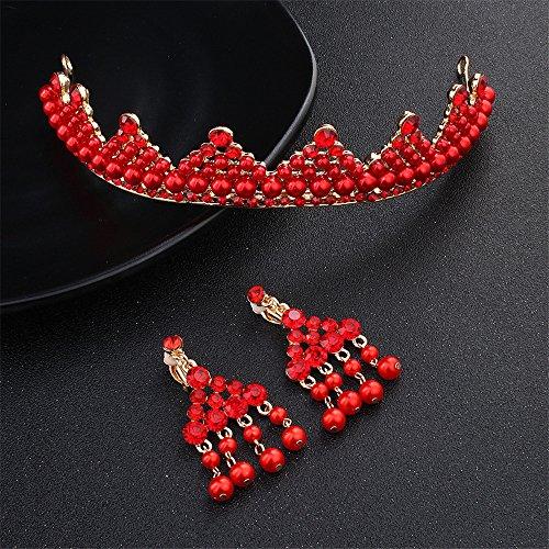 Weddwith Kopfschmuck Headwear Styling Zubehör Fashion Style Bridal Krone vergoldet rote Perle Brautkleider Kleider Zweiteilige Accessoires