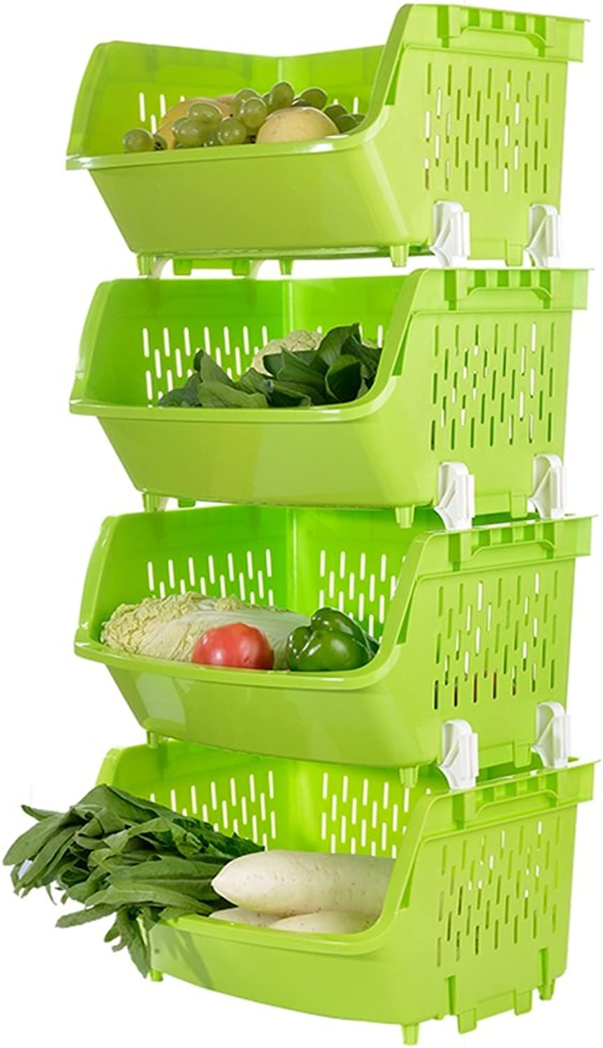 Shelf Kitchen Fruit and Vegetable Racks Floor Multi-Layer Storage Racks Bathroom Storage Baskets Kitchen Rack Mobile Vehicles (Four Layers) (color   Green, Size    a)