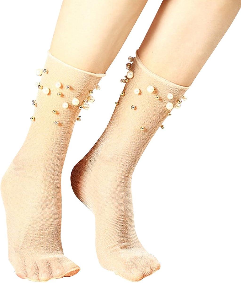 Socks Women Soft Comfy Cotton Elastic Mesh Transparent NetSheer Ankle sock