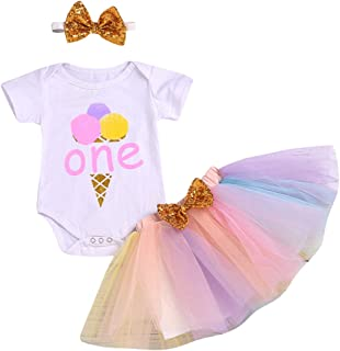 Baby Girls 1st Birthday Outfit Short Sleeve Romper Top Tutu Dress Sunshine Ice Cream Costume Clothes 3pcs