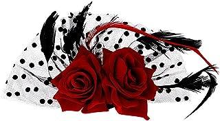 fenical accesorio de pelo novia Rosa Roja cinta Muelle Clips tocado boda accesorios