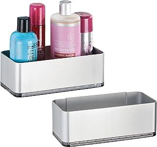 mDesign lot de 2 Panier de douche autoadhésif – Serviteur de douche pratique – Installation sans perçage – Étagère de douc...