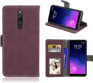 För Meizu M6T/Meiblue 6T/Meilan 6T fodral, matt PU läder skydd 3 kortplatser plånbok flip fodral fodral skal rosa