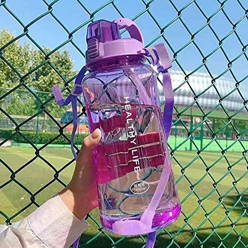 2000ML Botella de agua de gran capacidad Botellas deportivas portátiles con paja Camping Ciclismo Viajes Jugo de plástico Drinkware-1.5L Sin pegatinas, Morado
