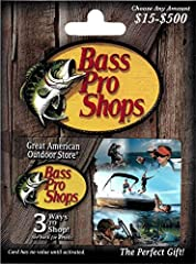 A perfect gift for your favorite outdoor enthusiast for any occasion. Gift Cards can be redeemed for online purchases, catalog orders, and purchases made at Bass Pro Shops retail stores. In addition the gift card can be redeemed at Big Cedar Lodge an...