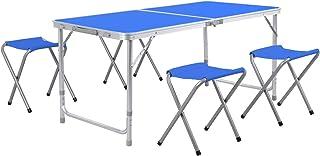 Homfa Mesa Plegable Camping Mesa Playa Mesa de Jardín Mesa para Picnic con 4 Sillas Ajustables Mesa para Acampada Azul 120...