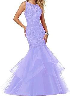 Women's Applique Tulle Long Mermaid Prom Party Evening Dresses EL189