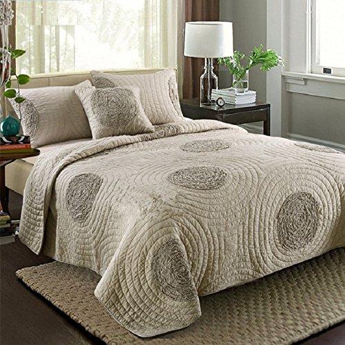 Beddingleer Tagesdecke Bettüberwurf 220 x 240 cm Patchwork 100% Baumwolle Tagesdecke Gesteppt Bettwäsche Beige 3-tlg Einfacher Nordischer Stil