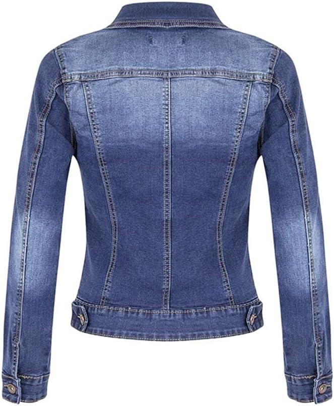 CDQYA Plus Size Short Denim Jackets Women Autumn Wash Long Sleeve Vintage Casual Jean Jacket Bomber Denim Coat Ladies Jacket Outerwear (Color : Blue, Size : S Code)