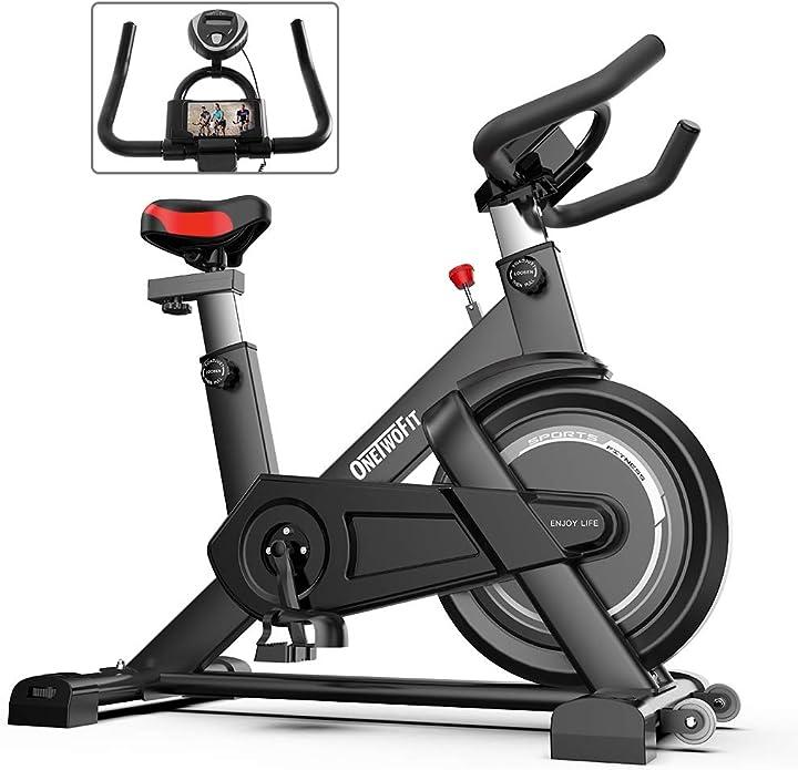 Cyclette da interno con display, sellino e manubrio regolabili spinning bike da ciclismo onetwofit B08NSFT5FD