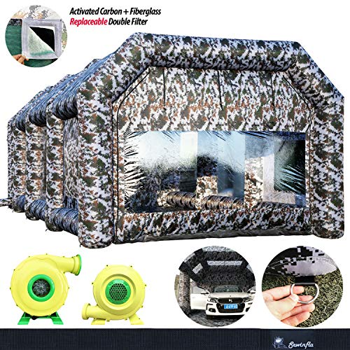 Spray Booth, Inflatable Paint Booth 9x6x4m/30x20x13Ft SEWINFLA Camouflage Portable Car Paint Booth Tent with Blowers Upgrade More Durable with Air Filtration System Environment Friendly